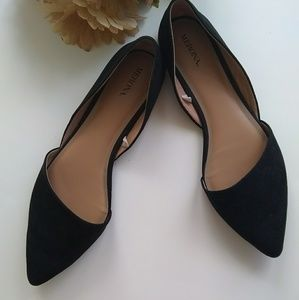Black Faux Suede Pointed Toe Merona Flats Size 9